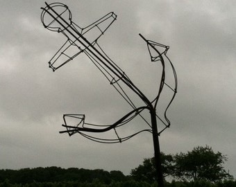 Wire florist form or sculpture - ship's anchor
