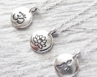 Yoga Jewelry, Yoga Necklace, Stamped Tiny Charm Circle Pendant, Om Charm, Lotus Flower, Or Buddha Charms, You Choose One Charm, Gift For Her
