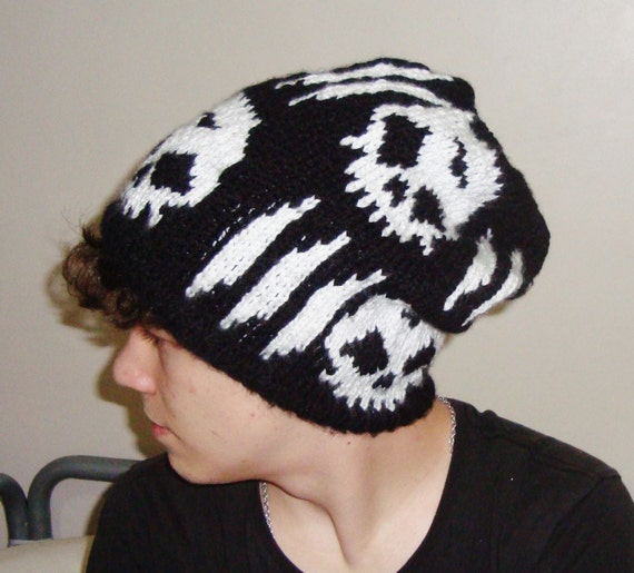 Skull Mens Hat Men's Winter Hat with Skull knit hat in Black, White Hand Knitted Men Hat, Mens Gifts for Him, Synyster Gates Hat