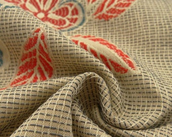 Floral Jacquard Fabric from Italy - 100% Cotton - Tan, Red and Blue - 2663