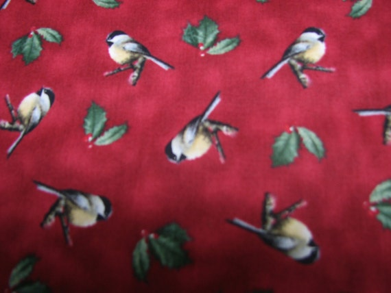 1 handmade Set of 2,4,6 chickadee with holly Placemats w/Center Round Burgundy Made In Maine Christmas holiday