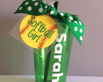 Softball gift, Softball Team Gift, Softball Tag, Softball cup, Softball Girl Gift, Softball Coach Gift, Softball Party, Softball Party Favor