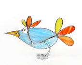 Blue Bird Stained Glass 3D Stand-Up Rainbow Ornament Desk Accessories
