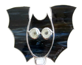 Night Light Stained Glass Black Bat Nightlight Halloween Decoration Handmade OOAK 247