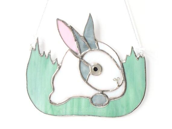 Bunny Rabbit Stained Glass Suncatcher Panel White Easter Handmade OOAK