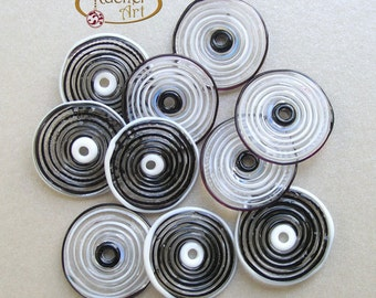 Black and White Lampwork Glass Disc Beads, FREE SHIPPING, Handmade Glass Spiral Beads - Rachelcartglass
