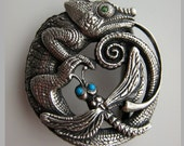 CHAMELEON sterling silver belt buckle, handmade belt buckle