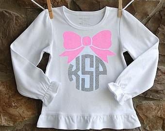 Girls glitter monogram bow shirt
