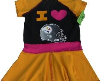 Repurposed Pittsburgh Steelers Dress Girls Size 4/5T