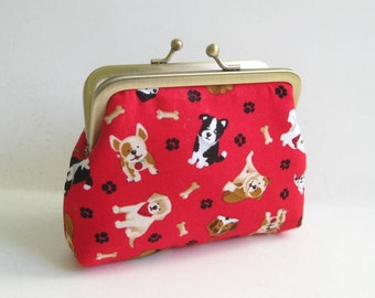 Medium Coin Purse in Red with Dogs