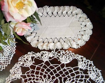 3 Assorted Vintage Crocheted Lacy Doilies 3488