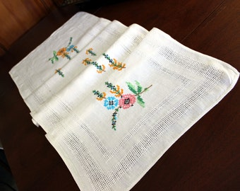 Linen Runner -  Embroidered Table Scarf - Cross Stitched on Pulled Linen 12060