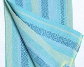 beach colors stripes towel with blue green weft