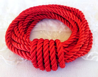 5mm Red Satin Twisted Cord, Wrapped Thread Cord, Rope Cord- 1 Yard/ 0.92m approx.(1 piece)