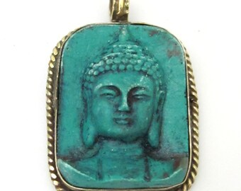 Tibetan green color Buddha face pendant from Nepal - PS001C