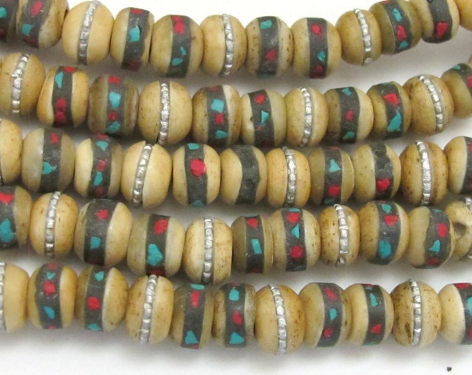 10 Beads-Rondelle shape ethnic Tibetan old bone beads with turquoise coral inlay - NB126