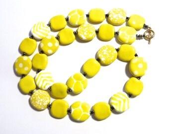 Yellow Beaded Necklace, Kazuri Bead Necklace, Fair Trade, Ceramic Jewelry