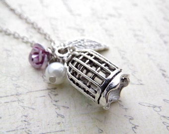 Birdcage Charm Necklace. Jewelry, Handmade Necklace, Leaf, Flower, Pearl