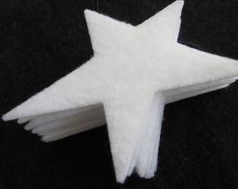 "Primitive White Felt Stars -2"" Medium Size- 50 Die Cut Felt Stars-Primative Star Shapes-DIY Felt Star Kit"
