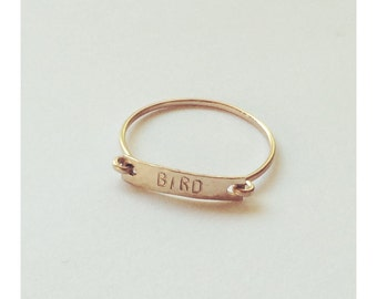 Customizable Hand Stamped Gold Ring