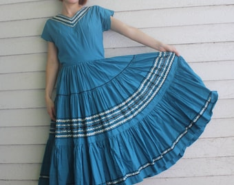 Vintage Blue Patio Dress Full Circle Skirt Country Ric Rac Cotton Square Dance XS