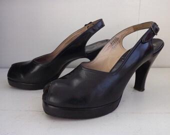 40s Palter DeLiso Shoes Platform Peeptoe Slingback Heels 6 1/2 AA Dark Blue Vintage 1940s