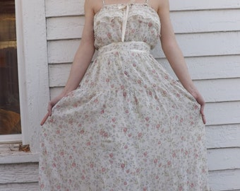 Gunne Sax Maxi Summer Dress Floral Ivory 1970s Vintage 70s XS