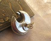 vintage working padlock - stainless steel round padlock - (N-9).