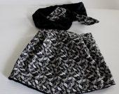 Black and Gray Print Bib and Coordinating Hair Band: Bib 'n Bow Baby Girl Gift, Baby Girl Shower Gift