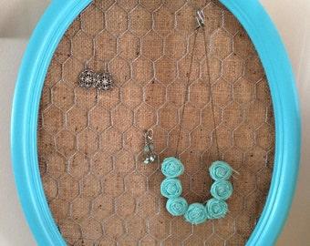 Aqua oval earring display vintage frame