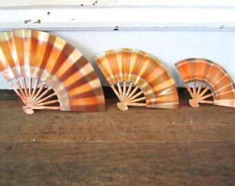 Mid Century Modern Copper Fans Wall Hangings