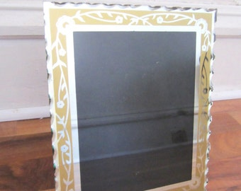 1920s Art Deco Etched Scalloped Mirror Frame