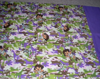 Dora The Explorer Pillowcase with purple trim  - Fits Standard and Queen size pillows
