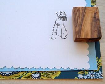 Schnauzer Olive Wood Charity Stamp