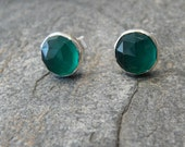 Sterling Silver 8mm Faceted Rose Cut  Green Onyx Studs
