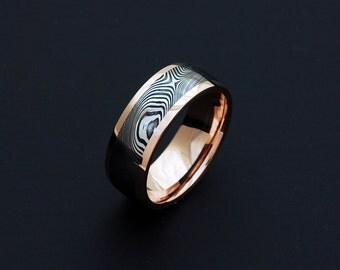 Genuine stainless Damascus Steel and Rose Gold Mens Ring PD85