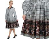 SALE OP ART Houndstooth & Paisley Amazing Novelty Print Shirtwaist Dress / M / L