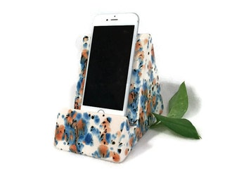 iPhone iPad Stand - Earth Tones of Blue and Brown