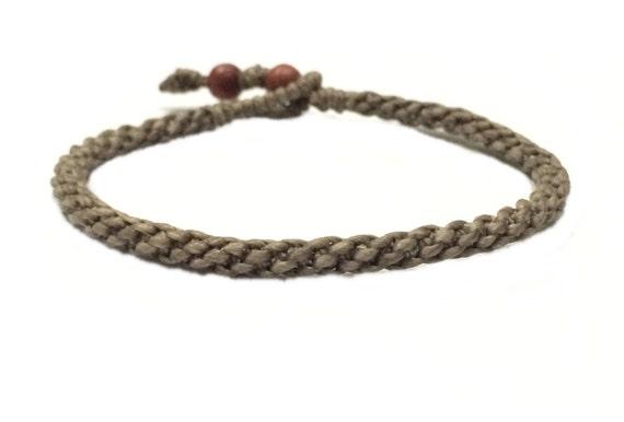 Dark Khaki Men's Women's Cotton Handcrafted Braided Wristband Bead Bracelet Wristwear