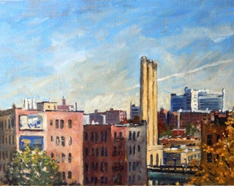 The Long View. NYC. 12x20 Oil on Canvas, New York City Oil Painting, Urban Impressionist Plein Air Fine Art, Signed Original Realist Oil