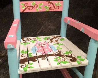 Girls rocking chair - pink and blue rocking  chair - childs rocker seat - Owl Rocking Chair - Owl Bench - child rocking chair