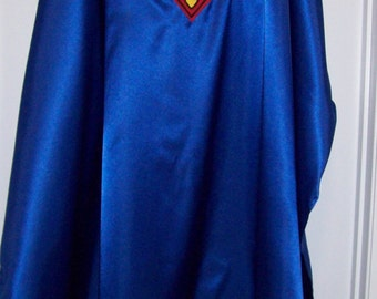 Royal Blue Satin Superman Style Cape Adult size custom made