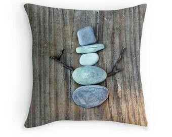 Beach Theme Pillow Cover- Stone Snowman, Snowman Pillow, Beach Stone Art, Rustic Decor, Coastal Art, Holiday Decor, Beach Photo Pillow Case