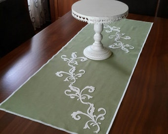 Lime Green, Duck Linen Groundcloth, ,Cream Felt Twig Leafs Elegant Table Runner