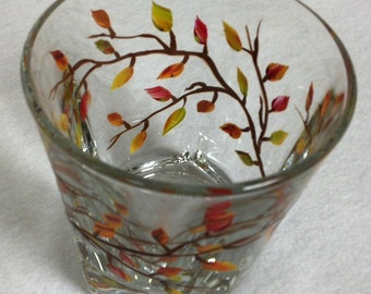 Old Fashion - Highball Glass Autumn Leaves Hand Painted