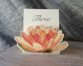 Peach Lily Table Numbers- Table tents- Event signs- Themes of Water lily/ lotus/ Lily Pond Weddings Events