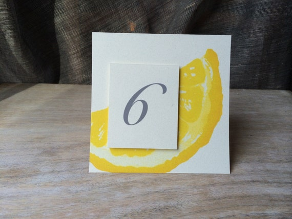 Lemon Slice Table Numbers for a wedding or event seating