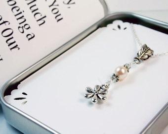 Flower Girl Jewelry. Swarovski bead Flower Girl necklace and Gift Packaging -Flower Girl Thank you Gift - Custom Flower Girl Necklace NKL018