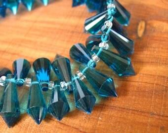 10pcs Teal Blue 20mm designer crystal glass teardrop prism briolette drop Beads faceted
