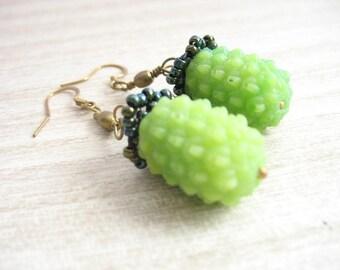 Lime Green Earrings , botanical earrings , resin earrings jewelry , green berry earrings , dangly jewelry , resin earrings, dangle earrings